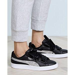 New PUMA Black Basket Glitter Platform Sneakers